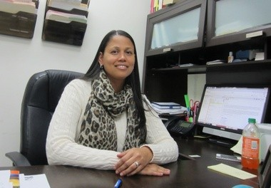 Springfield Housing Authority Grants Coordinator Lidya Rivera in her office at the Deborah Barton Neighborhood Network Center, located at Sullivan Apartments.