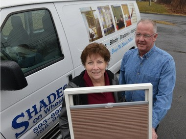 Marjorie Currie and Andrew Osgood, owners of Shades on Wheels in Agawam.
