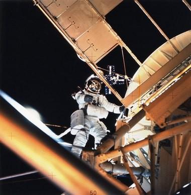 Owen K. Garriott, Skylab 3 science pilot, during an extravehicular activity.