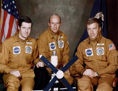 The crew of the first manned Skylab mission, from left, Joseph P. Kerwin, science pilot; Charles Conrad Jr., commander; and Paul J. Weitz, pilot.