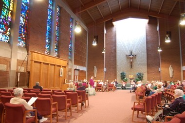 Sisters of St. Joseph and others attend a Saturday afternoon Mass at the chapel at Mont Marie in Holyoke.