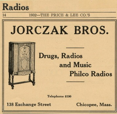 A 1932 ad for Jorczak Brothers drug store.