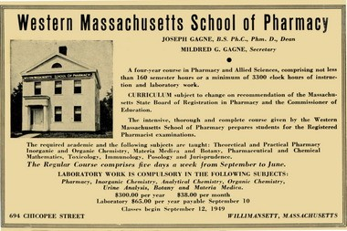 An ad details the cost and curriculum for the Western Massachusetts School of Pharmacy in 1949.