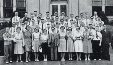 Dr. Joseph Gagne and his pharmacy students visit the Eli Lilly Co. in 1940.