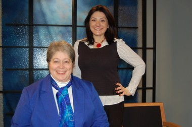 """Sunderland author Saloma M. Furlong (left) and Aliz Koletas, """"Connecting Point"""" host and producer, pose in a WGBY studio before taping a segment of the program."""
