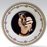 """""""Selfie Portrait Vermeer"""", repurposed china plate. 11"""" diameter."""
