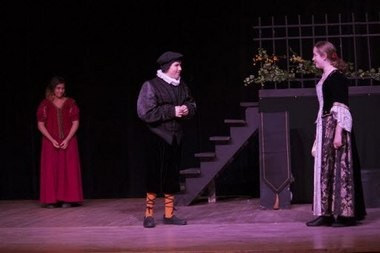 Young Shakespeare Players East Makes its Franklin County debut with Twelfth Night at the Shea Theater in Turners Falls. Here, YSP East actors Spencer Wolf as Fabian and Liam Shannon as Sir Toby (l to r)