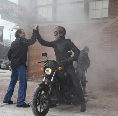 Bill Davidson, great-grandson of company co-founder William A. Davidson, left, and Jeff Wick, social media project manager of Harley-Davidson, celebrate after removing a brick from the historic Milwaukee headquarters on Jan. 15, using a 2015 Harley-Davidson Street 750 motorcycle. In the spirit of this year's 75th Sturgis Motorcycle Rally, that brick, alongside one from the Harley-Davidson Museum and 73 bricks from the headquarters' famous motorcycle-only parking area, will be incorporated into the design of a new permanent plaza built by Harley-Davidson on Main Street in Sturgis, South Dakota.