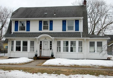 The 1926 Dutch colonial home at 115 Belleclaire Avenue, the only verified Sear kit house in town. After the prospective owner ordered the house from a Sears catalog, 30,000 pieces of house were shipped by rail. The catalog purchase price was $4,347.