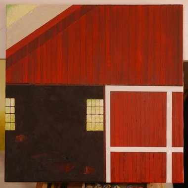 "This work, ""Mondrian's Barn,"" by artist Donald Munson was inspired by a barn near Longmeadow Street and named so because it resembles the graphic style of the French artist Piet Mondrian."