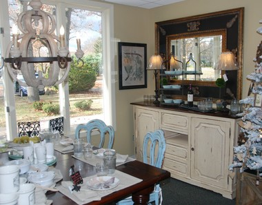 A dining room display at Tremblay Maison, the new furniture, accessories and home gifts shop located at 153 Longmeadow St., Longmeadow.