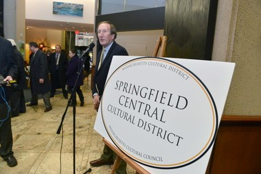 In this photo taken on Jan. 21, 2014, then WGBY general manager Russell J. Peotter talks about the newly designated Springfield Central Cultural District during an announcement at 1 Financial Plaza. David Starr, retired publisher of The Republican, credits Peotter for the leadership role he took in drawing attention to Springfield's cultural assets.