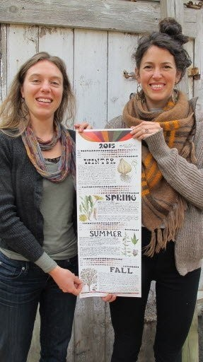 Brittany Nickerson, left, the owner of Thyme Herbal in Amherst, and Chelsea Granger, a freelance illustrator in town, collaborate on a project they call the Everyday Living Series. The project has recently produced and offered up the 2015 Moon Calendar.