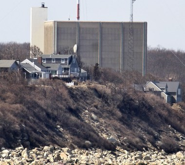 The Pilgrim Nuclear Power Station, in Plymouth, is seen near the coast of Cape Cod Bay in 2011.
