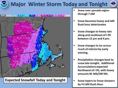 Boston Weather Forecast: nor'easter to bring 4-8 inches of