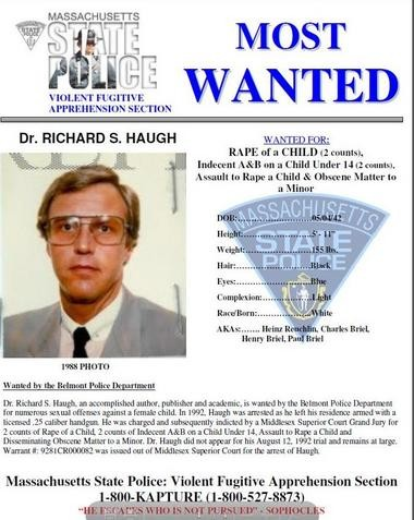 State police wanted poster for Richard Haugh, a fugitive from a 1992 rape investigation in Belmont. He was apprehended in Colombia officials announced on Friday.