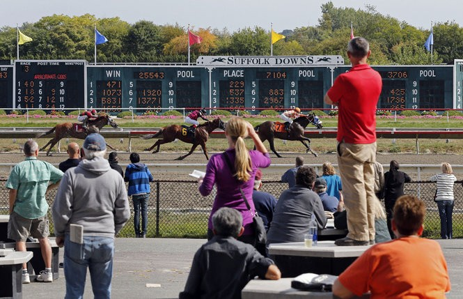 This file photo shows the Suffolk Downs race track, which straddles Boston and Revere in eastern Massachusetts.