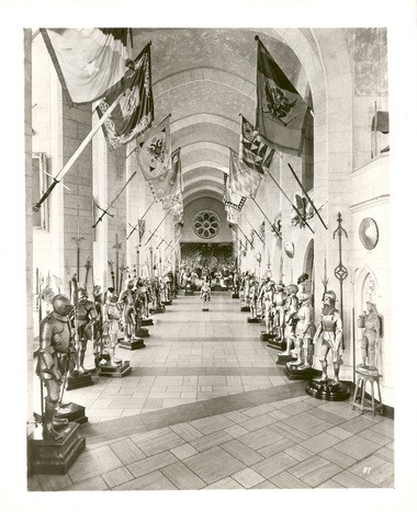 Higgins Armory's original Great Hall, seen in 1931