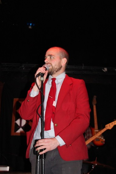 Shaun Connolly performs at the Sort of Late Show that is modeled on late night shows in the style of Johnny Carson.