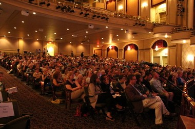 The Hanover Theatre filled up with people who came out for the forum.
