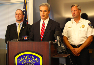Worcester County District Attorney Joseph Early Jr. discusses the death of one foster care child and the condition of a second foster care child who were found in an Auburn home. Auburn Police Chief Andrew Sluckis Jr. (right) said police did know the foster care mother.