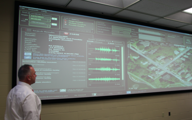 Worcester Police Captain Paul Saucier reviewed the ShotSpotter system in the department's Real Time Crime Center.