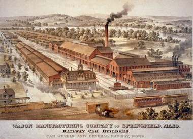 Wason Manufacturing Company of Springfield, founded in 1845, built railway cars, car wheels and did general railway work.