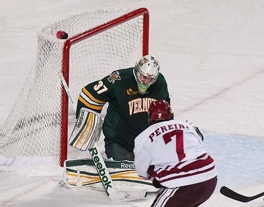 Brody Hoffman, pictured here against the Minutmen on Nov. 20, made 36 saves for Vermont in its 3-2 win over UMass on Saturday night in Burlington.