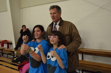 Republican U.S. Sen. Scott Brown said Wednesday that after reflecting on the tragedy in Newtown, Conn., he now supports a federal ban on assault weapons. Here, he is pictured with children during a campaign stop at the Boys and Girls Club in Leominster, Mass. on Jan. 17, 2012. (Staff photo by Robert Rizzuto)