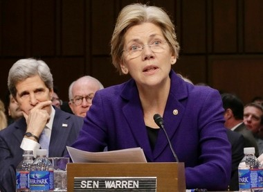 """Sen. Elizabeth Warren, D-Mass., said she's encouraged by a nonbinding, nonpartisan Senate measure to eliminate subsidies for so-called """"too big to fail"""" banks, noting that such assistance isn't available for smaller banks and credit unions."""