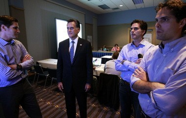 "Republican presidential candidate, former Massachusetts Gov. Mitt Romney, stands with his sons, from left to right, Josh, Tagg, and Craig, as he watches results for the Florida primary election in the ""War Room"" at the Tampa Convention Center in Tampa, Fla., Tuesday, Jan. 31, 2012."