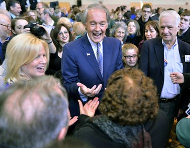 Rep. Ed Markey, D-Mass., center, and his wife Susan Blumenthal, left, greet supporters during the kickoff event of his campaign for Senate in Malden, Mass., Saturday, Feb. 2, 2013. Markey is running to replace the seat left empty by the nomination of Sen. John Kerry to be Secretary of State.(AP Photo/Josh Reynolds)