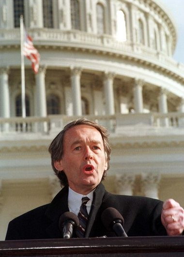 Democratic U.S. Rep. Ed Markey of Massachusetts stands on the steps of the Capitol on Dec. 17, 1996, after leading more than 1,000 people in prayer during an anti-impeachment rally as then President Bill Clinton was embroiled in the infamous sex scandal. (File photo by Carl Bower)