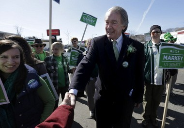 03.10.2013 | WORCESTER -- Democratic U.S. Senate hopeful U.S. Rep. Edward Markey, D-Mass., center, greets people while marching in the Worcester County St. Patrick's Parade. Markey is running in a special election for the U.S. senate seat vacated by U.S. Secretary of State John Kerry, the former senior senator from Massachusetts.