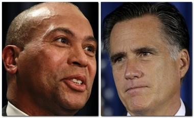 Massachusetts Gov. Deval L. Patrick, left, is seen with his predecessor, W. Mitt Romney in this composite file photo.