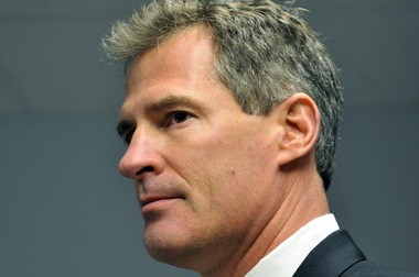 """In this Dec. 9, 2009 file photo, then-Republican senatorial candidate Scott Brown responds to a reporter's question during a morning news conference at his campaign headquarters in Needham, Mass. Brown said Tuesday, Jan. 29, 2013 that the former U.S. senator from Massachusetts is """"leaning stronglyâtoward seeking a return to Washington and will likely enter the race to replace Sen. John Kerry early next week. (AP Photo/Gretchen Ertl, File)"""