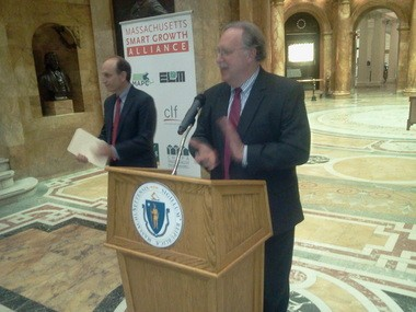 During a Statehouse event, Rep. Stephen Kulik, right, standing at podium, and Sen. Daniel Wolf, to the left, introduced a bill that would update the state law that governs municipal zoning, subdivision control and planning.