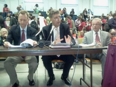 Jon Hurst, president of the Massachusetts Retailers Association, left; William Vernon, state director of the National Federation of Independent Business, middle, and Peter G. Christie, president of the Massachusetts Restaurant Association, right, testify in opposition to increasing the minimum wage.