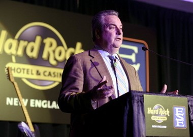 In January, James Allen, chairman of Hard Rock International and CEO of Seminole Gaming, announces the company's casino plans for the Eastern States Exposition during an event at the fairgrounds.