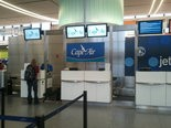 The Cape Air check-in counter at Logan Airport.