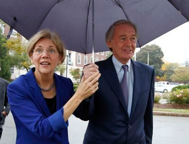 Democratic U.S. Senators Elizabeth Warren and Edward Markey of Massachusetts have endorsed a push to put before the voters ballot initiatives increasing the state's minimum wage and granting workers mandatory sick time.(AP Photo/Michael Dwyer)