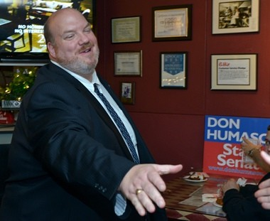 Donald Humason, the Republican winner for the 2nd Hampden-Hampshire state senate race greeted supporters at EB'S in Agawam while waiting for election results Tuesday night. He will face Democrat David Bartley Nov. 5.