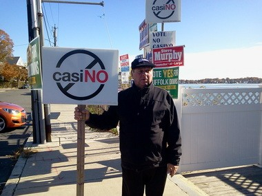 "Anthony ""Skip"" Picarello, 69, of East Boston, opposes a casino at Suffolk Downs."