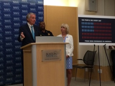 U.S. Sen. Ed Markey, a Massachusetts Democrat, and Cheryl Bartlett, the Massachusetts public health commissioner, talk about substance abuse at Boston Medical Center on Aug. 6, 2014.