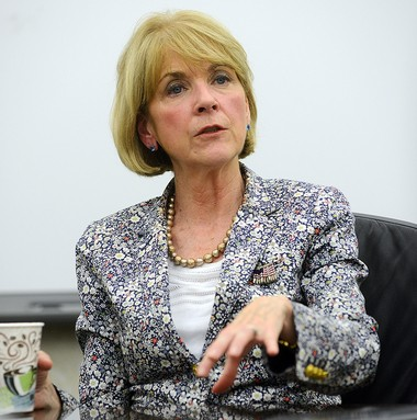Attorney General Martha Coakley, a Democratic candidate for governor of Massachusetts, addresses the editorial board of The Republican/MassLive.com in Springfield on Aug. 27, 2014.