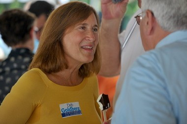 Hampden County Sheriff Michael Ashe held his 37th annual clambake at the Springfield Elks Lodge 61 in Springfield. Here is Deb Goldberg candidate for Treasurer working the tent. (DAVE ROBACK / THE REPUBLICAN)