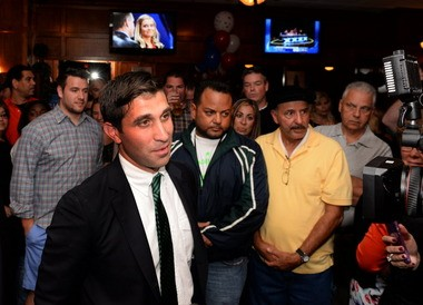 SPRINGFIELD - Anthony Gulluni is surrounded by supporters at Samuel's on Sept. 9, when he won the Democratic nomination for Hampden District Attorney over four other contenders.