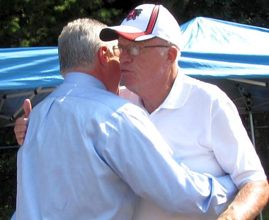 Mike and Mike hugging at Sheriff Ashe's annual clambake a few years ago. Ashe is on the right in the ball cap. Albano is the guy doing most of the hugging in this file photo from The Republican. Could these two veteran public servants square off in the next race for Hampden County sheriff? Crazier things have happened.
