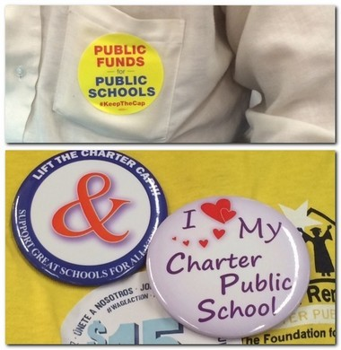 Advocates for public schools and charter schools wear competing pins and stickers at a Statehouse hearing on Oct. 13, 2015.