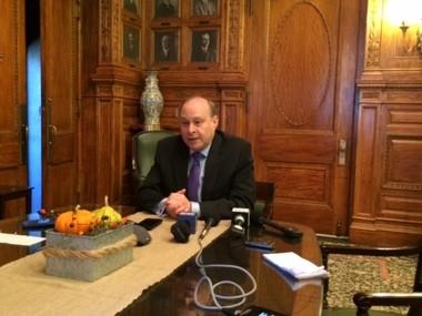 Senate President Stan Rosenberg, D-Amherst, speaks to reporters in his office on Nov. 4, 2015.
